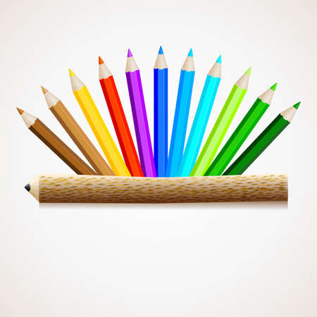 Color pencils with pencil Illustration
