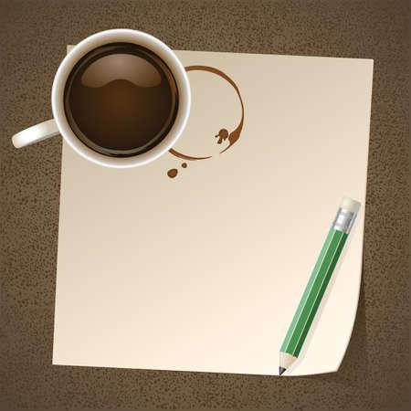 Caf� con nota de papel Vectores