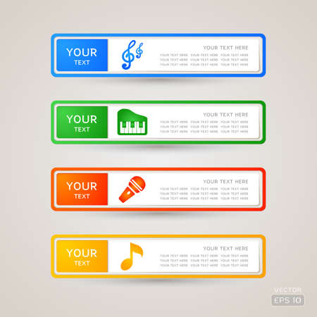 Sticker Label music set Stock Vector - 21963166