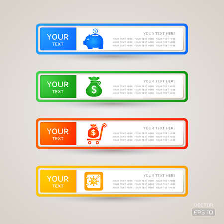 Sticker Label business and finance set Illustration