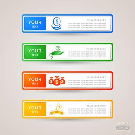 Sticker Label business and finance set Illustration