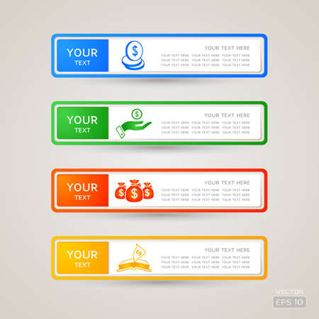 listing: Sticker Label business and finance set Illustration