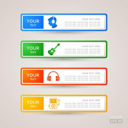 Sticker Label music set Illustration