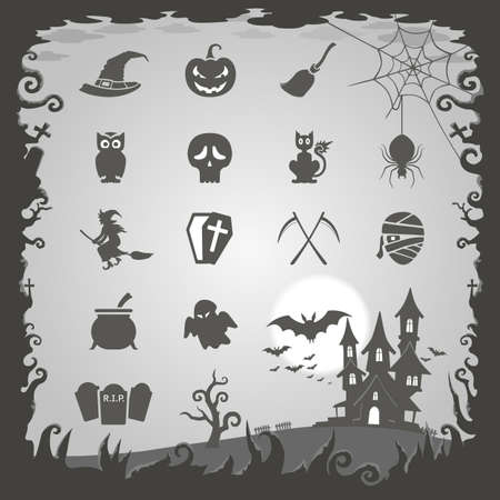 spider web icon: Halloween icons with Halloween background Illustration