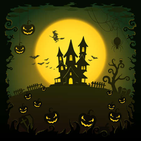 ghost town: Scary house, Halloween background Illustration