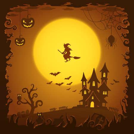 Casa asustadiza, fondo de Halloween