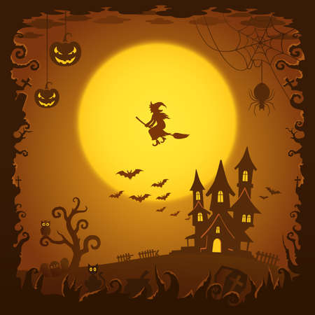 mourn: Scary house, Halloween background Illustration