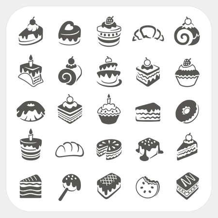 Gebak en dessert set Stock Illustratie