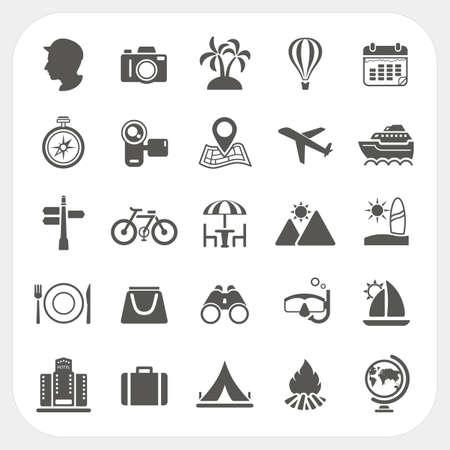 travel icon: Reizen en Vakantie pictogrammen set Stock Illustratie