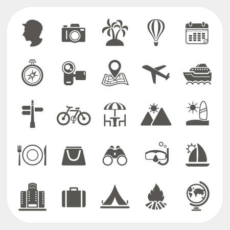 hotel icons: Travel and Vacation icons set