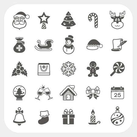 Kerst en Winter pictogrammen instellen, Vector Stock Illustratie