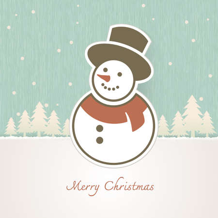 stove pipe: Christmas Snowman with trees covered in snow background Illustration