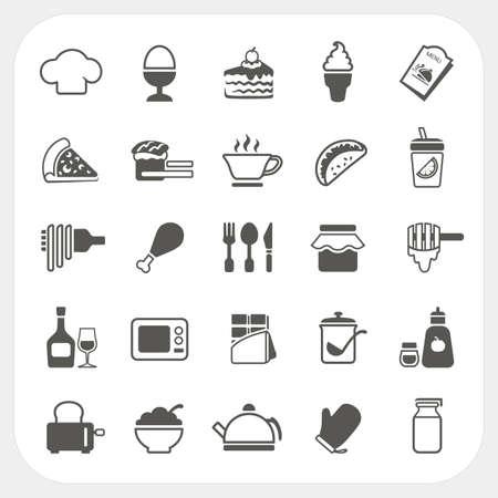 chocolate slice: Food icons set on white background