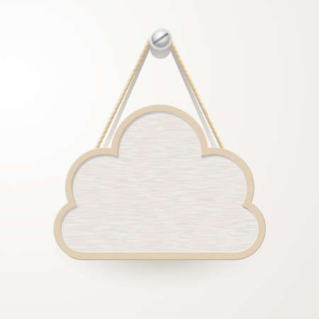 Wooden sign with rope hanging on a nail, cloud design for background