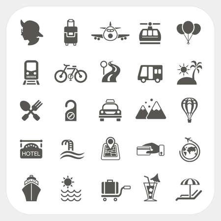 旅行と交通のアイコンを設定  イラスト・ベクター素材