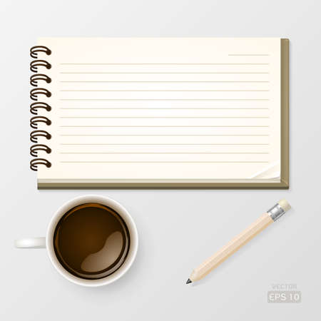 Notebook with coffee