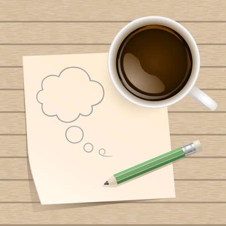 木製の背景にペーパー ノートとコーヒー  イラスト・ベクター素材