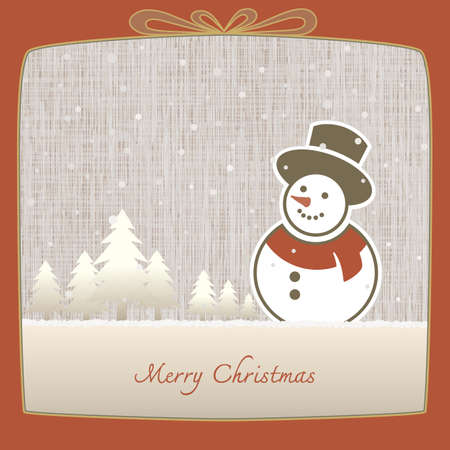 stove pipe: Merry Christmas, Snowman made of paper in winter background, EPS10, Dont use transparency.