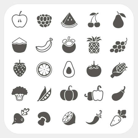 raspberries: Fruits and Vegetables Icons with frame