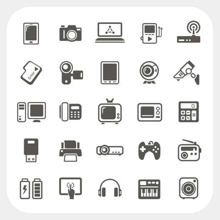 Electronic Device icons set Illustration