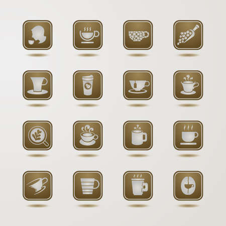 Coffee cup icons set Stock Vector - 25468394