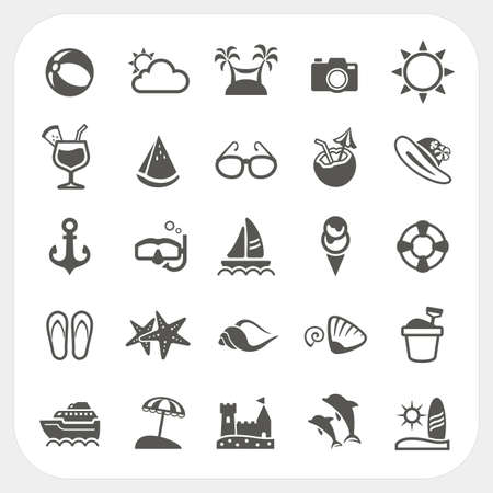 Summer icons set