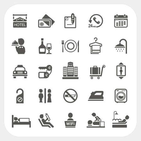 Hotel und Hotel Dienstleistungen Symbole gesetzt Standard-Bild - 26075125