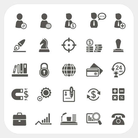 Business, Human resource and Finance icons set Vector