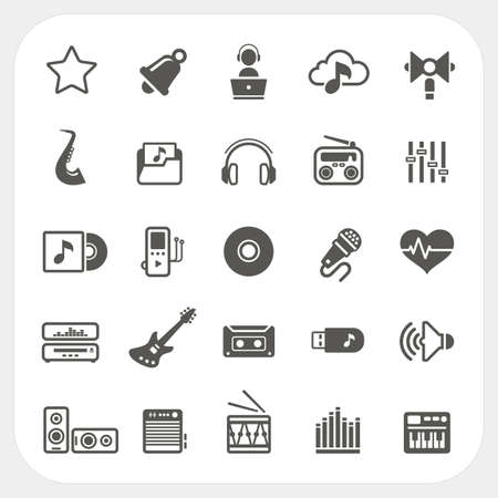 music buttons: Music icons set