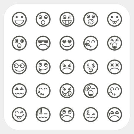 Emotion face icons set