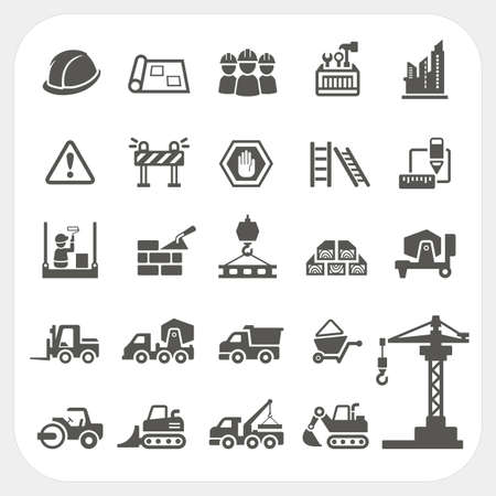 construction crane: Construction icons set