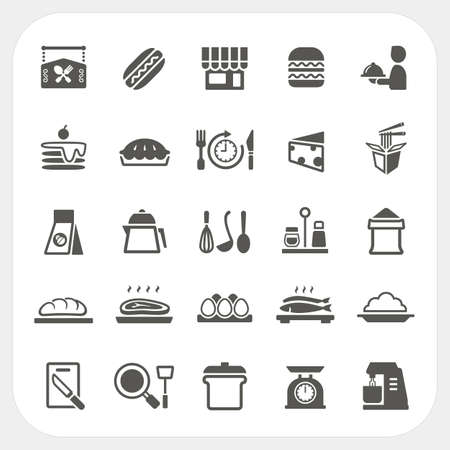 rice and beans: Food icons set