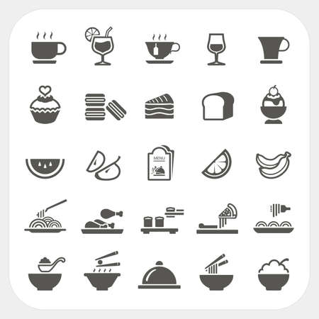 fried noodles: Food and Beverage icons set Illustration