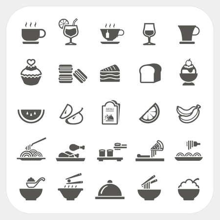 Lebensmittel und Getränke Symbole gesetzt Standard-Bild - 26532792
