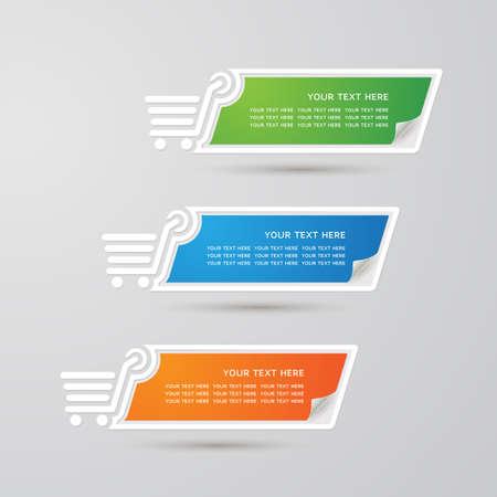 Etiqueta Conjunto colorido de compras de papel, vector Vectores
