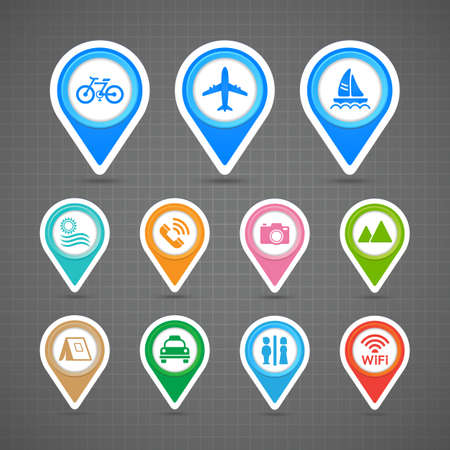 Map pins travel icons set Vector