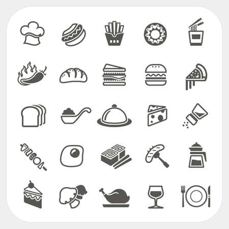 fried noodles: Food icons set
