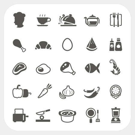 fried shrimp: Food icons set