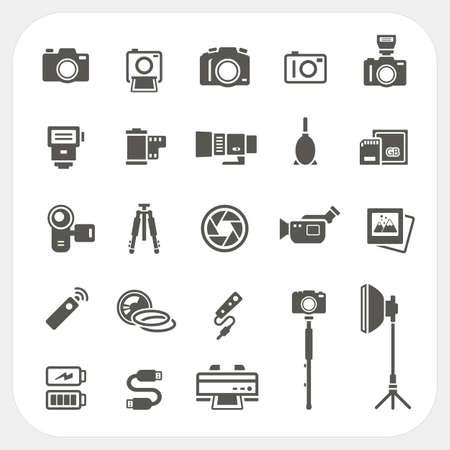 カメラ アイコンとカメラ アクセサリーのアイコンを設定  イラスト・ベクター素材