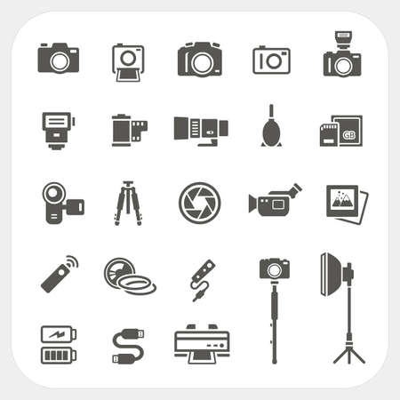 handycam: Camera icons and Camera Accessories icons set