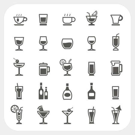 飲み物および飲料のアイコンを設定  イラスト・ベクター素材