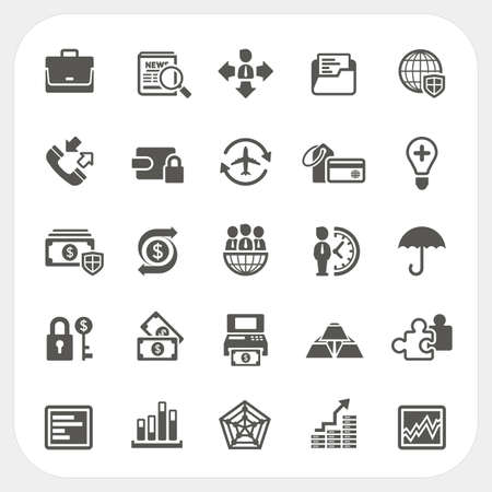 cashier: Business and finance icons set Illustration