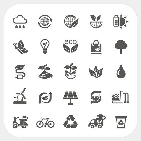 Ecology icons set, vector