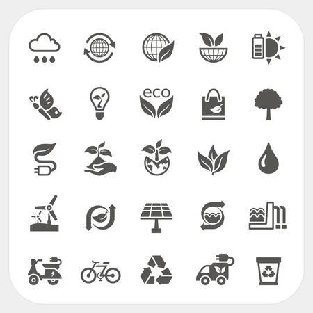 wind wheel: Icone di ecologia set, vettore