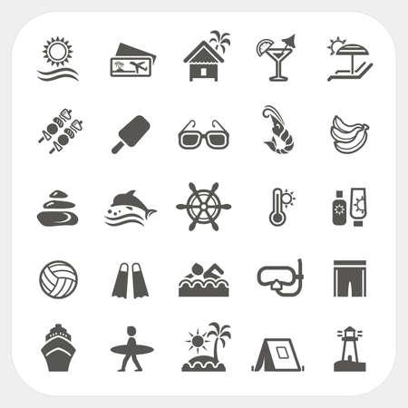 Los iconos de vacaciones de verano fijaron, vector
