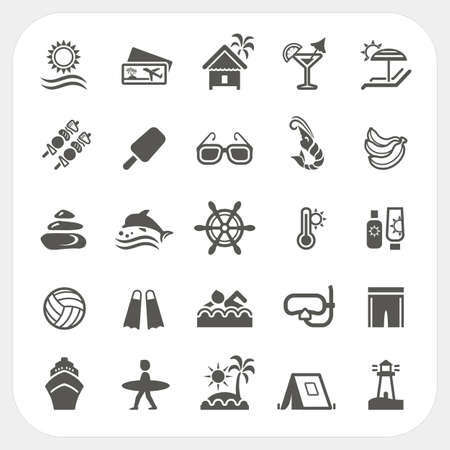 Summer holiday icons set, vector