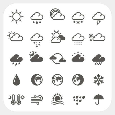 weather  thunder: Weather icons set, vector