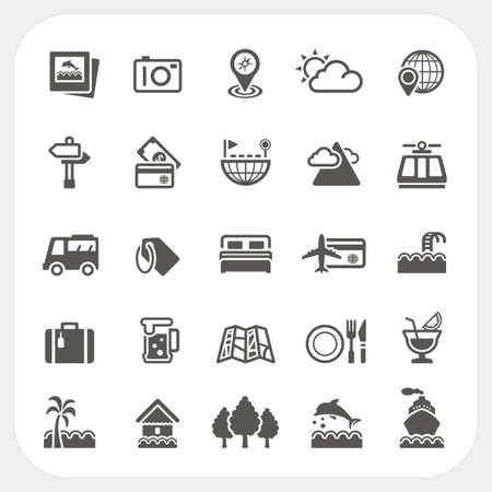 hut: Travel and Vacation icons set, vector Illustration