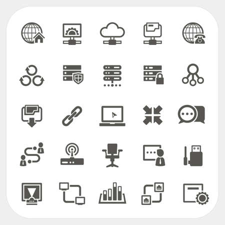 cloud hosting: Network icons set, vector Illustration