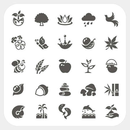 coconut seedlings: Nature icons set, vector
